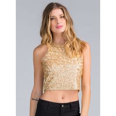 What A Shiner Sequined Crop Top GOLD ($20) ❤ liked on Polyvore featuring tops, metal, beige top, sequin sleeveless top, gold sequin top, sleeveless tops and keyhole top