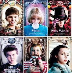 CHARLIE AND THE CHOCOLATE FACTORY CHARACTER. CHARLIE BUCKET VIOLET BEAUDURGARD WILLY WONKA MIKE TEAVEA AND VERUCA SALT.