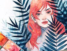 ferns watercolour by kelogsloops