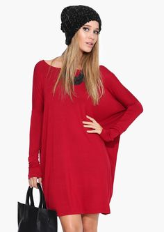 Basic Fall Dress in Burgundy | Necessary Clothing