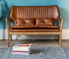 Mid Century Leather Sofa at Rose & Grey