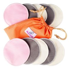 Washable Nursing Pads 10 Pack (Organic Bamboo) + Laundry & Travel Bag + Free Breastfeeding Guide. Feel Safe With Softest Reusable Breast Pads by BabyVoice®
