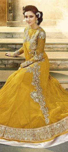 434060 Yellow  color family Party Wear Salwar Kameez in Net fabric with Lace, Resham, Stone work .