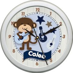 Rock Star Guitars Brown and Blue Nursery Rocker 10inch Wall Clock