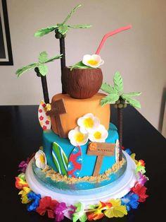 Hawaiian Party Cake, Hawaiian Birthday, Luau Birthday, Hawaii Birthday Cake, Luau Cakes, Beach Cakes, Party Cakes, Thema Hawaii, Hawaii Cake