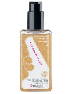 Mystim Goldfather Electrostim Conductive Gel - The Goldfather is a high-quality, paraben free, conducting gel containing pure 23-carat gold. It is water-soluble and perfect for playing with electrosex toys with a slippery feel. Made with medical grade ingredients it offers a thick gel formula that dispenses smoothly and washes off easily from skin, fabrics, and sexual products.  http://www.holisticwisdom.com/gold-electrostim-goldfather.htm