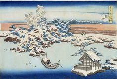 Hokusai Snow, Moon and Blossoms