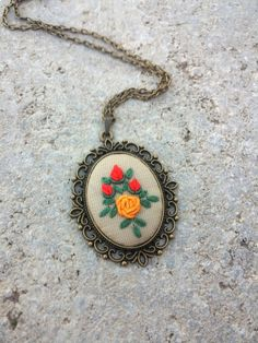 Unique Necklaces for Woman, Rose Flower fabric Necklace, Jewelry gift for women