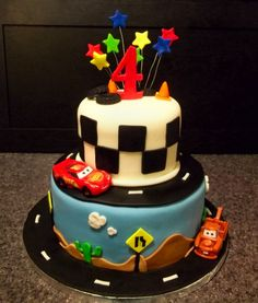 Disney Cars Cake - Cars are Disney Licensed Deco Pac. All fondant. made the stars and the 4 a couple days ag so it would dry. The guy sent me a photo of a cake he liked and I based this around that photo (no idea who it was made by).