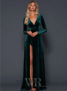 A beautiful full length dress by Elle Zeitoune. A velvet gown featuring a deep v-neckline and high side split. Emerald Green Bridesmaid Dresses, Velvet Bridesmaid Dresses, Green Wedding Dresses, Emerald Green Dresses, Emerald Green Wedding Dress, Emerald Green Velvet Dress, Emerald Gown, Velvet Dress Prom, Emerald Green Cocktail Dress