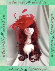Red Tilt Disc Hatinator Hat Birdcage Veil Feather Fascinator Wedding Guest Races