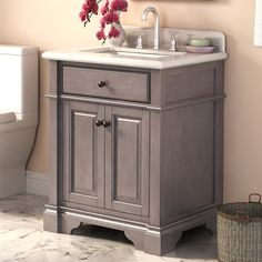 single bathroom vanity with sink. Found it at Wayfair  Casanova 28 Single Vanity Set Ace 42 inch Taupe Grey Bathroom with Mirror