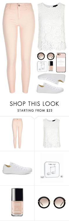 """""""Spring Outfit"""" by aurorabvik ❤ liked on Polyvore featuring River Island, Converse, Happy Plugs, Chanel, Miu Miu, Casetify, converse, springfashion, SpringOutfit and spring2016"""