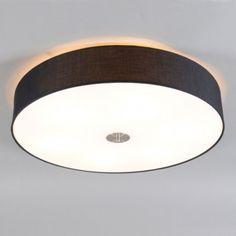 Deckenleuchte Drum 70 rund schwarz: Schlichte und elegante Deckenleuchte mit einem Lampenschirm aus Baumwolle. Der Lampenschirm ist an der Unterseite mit edlem Mattglas abgedeckt. #Deckenleuchte #innenbeleuchtung #wohnen #einrichten #modern