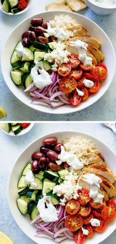 If you are trying to eat healthy and want a really good meal waiting for you, meal prep these chicken bowls. You will be SO glad you took the time to do a little prep! These easy Greek Chicken Bowls are always a favorite! Meal prep all of the ingredients Lunch Meal Prep, Meal Prep Bowls, Healthy Meal Prep, Healthy Snacks, Healthy Eating, Healthy Family Dinners, Healthy Good Food, Family Recipes, Healthy Chicken Recipes