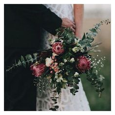 Deep rustic tones and proteas = the perfect bridal bouquet