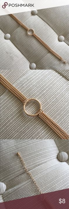 Gold multi strand ring detail choker necklace Perfect condition gold multi chain choker necklace with front ring details and adjustable lobster clasp closure in back. Never worn, make an offer! Forever 21 Jewelry Necklaces