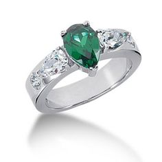 Gorgeous Pear Cut Emerald Diamond Anniversary Ring, Manufactured and Sold at Great Factory Direct Wholesale Prices, Only at Diamond Anniversary Rings, Pear Shaped Diamond, Emerald Diamond, Shapes, Engagement Rings, Prong Set, Diamonds, Jewelry, Enagement Rings