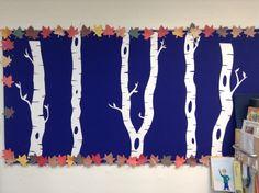 Christmas Birch tree bulletin board cut from card stock