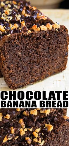 Quick and easy chocolate banana bread recipe, made with simple ingredients. Soft, moist, loaded with chocolate chips and starts off with cake mix. Double Chocolate Banana Bread Recipe, Cake Mix Banana Bread, Chocolate Cake Mixes, Chocolate Recipes, Chocolate Chips, Bread Cake, Best Bread Recipe, Quick Bread Recipes, Banana Bread Recipes