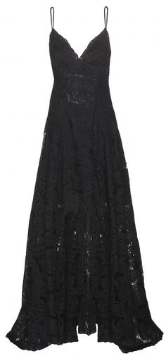 floor length black lace gown ♥