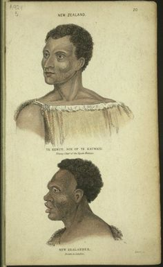 Two portraits of Maori men. At the top is Te Reweti, son of Apihai Te Kawau, a Ngati Whatua chief, shown head and shoulders with a flax cloak and moko on his face. Below is a profile view of a young man, 'drawn in London'. Like Te Rewiti he has short hair and moko Black History Books, Black History Facts, Polynesian People, Maori People, Maori Art, African History, Art Pictures, New Art, New Zealand