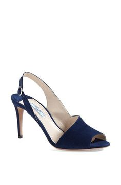 Bluuuuuuue, oh so lonesome for you! Prada Asymmetrical Sling Sandal available at #Nordstrom
