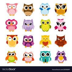 Vector illustration of colorful cartoon funny owls set on white background. Happy and joyful birds set in flat style. Cartoon Birds, Cute Cartoon, Cute Birds, Cute Owl, Owl Vector, Funny Owls, Funny Doodles, Cute Animal Illustration, Owl Pictures