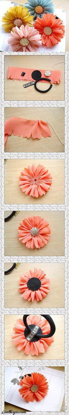 diy ideas, hair flowers, craft flowers, handmade accessories, fabric flowers, hair ties, hair accessories, make flowers, flower hair