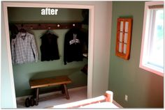 Downstairs Queen Bedroom Closet after the makeover.  Look inside at the wonderful little details!