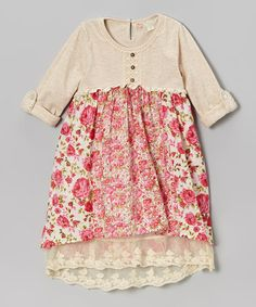 Beige & Pink Roses Henley Babydoll Dress - Toddler & Girls by Free Planet #zulily #ad *adore