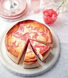 Rhubarb and Lemon Baked Cheesecake: This show-stopping dessert will impress even the most discerning sweet tooth. The tart rhubarb curd rippled through creamy lemon baked cheesecake looks and tastes absolutely gorgeous. Lemon Cheesecake Recipes, Rhubarb Recipes, Cheesecake Cake, Food Cakes, Cupcake Cakes, Cupcakes, Rhubarb Curd, Just Desserts, Dessert Recipes