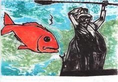 Pescador, 1973 [Tiragem póstuma por Reynal] Oswaldo Goeldi (Brasil, 1895-1961) Xilogravura policromada