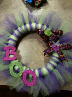 My first halloween wreath I made for our front door!:)