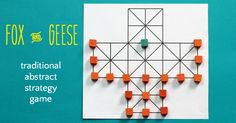 How to play Fox and Geese, a traditional abstract strategy game from Northern Europe similar to Halatafl. Art Activities For Kids, Puzzles For Kids, Fun Crafts For Kids, Games For Kids, Therapy Activities, Kid Crafts, Family Game Night, Family Games, Math Logic Games