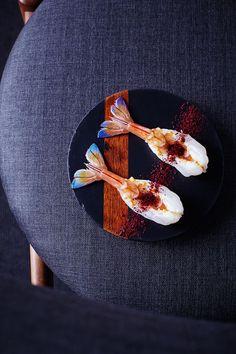 Behind the Scenes of Australia's Food Revolution Seared prawns and Davidson plums at Orana.Seared prawns and Davidson plums at Orana. Food Styling, Molecular Gastronomy, Food Plating, Plating Ideas, Teller, Culinary Arts, Restaurant Recipes, Gourmet Recipes, Gourmet Foods