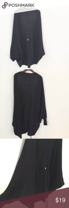 Black Batwing Oversized Cardigan. Worn once. In excellent condition. Only selling to make room in my closet. It does like to fall off the shoulders from time to time (which I love and is very much my style) so if you're not into that look this might not be the cardigan for you. No trades. No LOWBALLING. Thank you. :) Shein Sweaters Cardigans