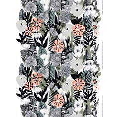 Marimekko's Kasvu fabric features a beautiful array of botanical motifs. The pattern, drawn by Maija Louekari, resembles a wild flower meadow and charms with its detailed stems, leaves and blossoms. Textile Patterns, Textile Design, Color Patterns, Fabric Design, Print Design, Print Patterns, Floral Patterns, Pattern Ideas, Design Patterns
