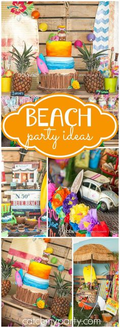 So many fantastic details at this beach surfing birthday party! See more party ideas at CatchMyParty.com!