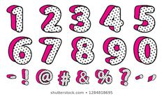 Cute black polka dots set of numbers and signs. Banner with hot pink shadow. Picture for birth invite vector card. Doodle Frames, Polka Dot Birthday, Baby Girl Birthday, Unicorn Banner, Unicorn Party, 3d Letters, Vintage Frames, Cute Pink Background, Doll Style