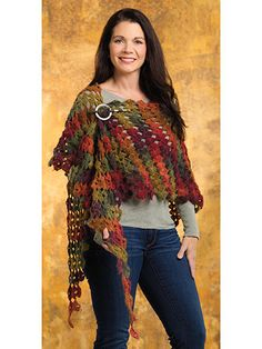 Ravelry: Drifting Leaves Shawl pattern by Joyce Geisler Crochet Shawls And Wraps, Crochet Scarves, Crochet Clothes, Crochet Wrap Pattern, Crochet Lace, Crochet Patterns, Crochet Granny, Knitting Patterns, Simply Crochet