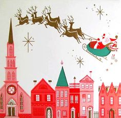 Vintage Christmas Card - The colors are delightful. I especially like 2 of the houses on the right side of the card. The triple gable house and the tall pink house next to it. Those would be great for glitter houses.