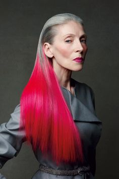LOVE this woman's hair.  So beautiful.  Yes to greying naturally and adding a shot of crazy panel colour on the ends.  Brilliant. #GlamGrandma via @Gloss48