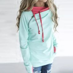 New Women Long Sleeve Pullover Sweatshirt with Hood and Pockets