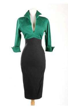 Pinup Couture color block Lauren Dress in Green and Black | Pinup Girl Clothing