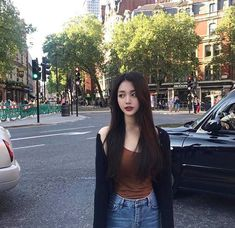 Image may contain: 1 person, standing, car and outdoor Pretty Korean Girls, Korean Beauty Girls, Cute Korean Girl, Beautiful Asian Girls, Asian Beauty, Girl Pictures, Girl Photos, Prom Pictures, Girl Korea
