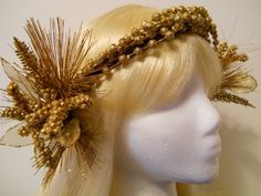 Flower Crown Head Wreath Gold 1920s Art Deco Art by MyFairyJewelry