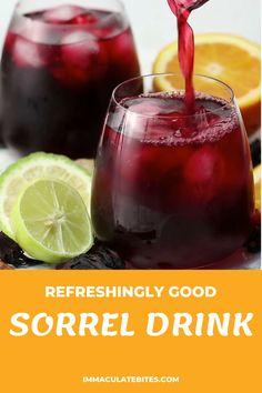 Jamaican Sorrel Drink Recipe, Jamaican Drinks, Sorrel Recipe, Jamaican Recipes, Healthy Juice Drinks, Healthy Juice Recipes, Healthy Juices, Holiday Drinks, Fun Drinks