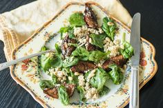 Charred Fig and Spinach Salad With Lemon Tofu Feta