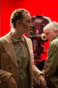 "Saoirse on the set of ""The Grand Budapest Hotel"""